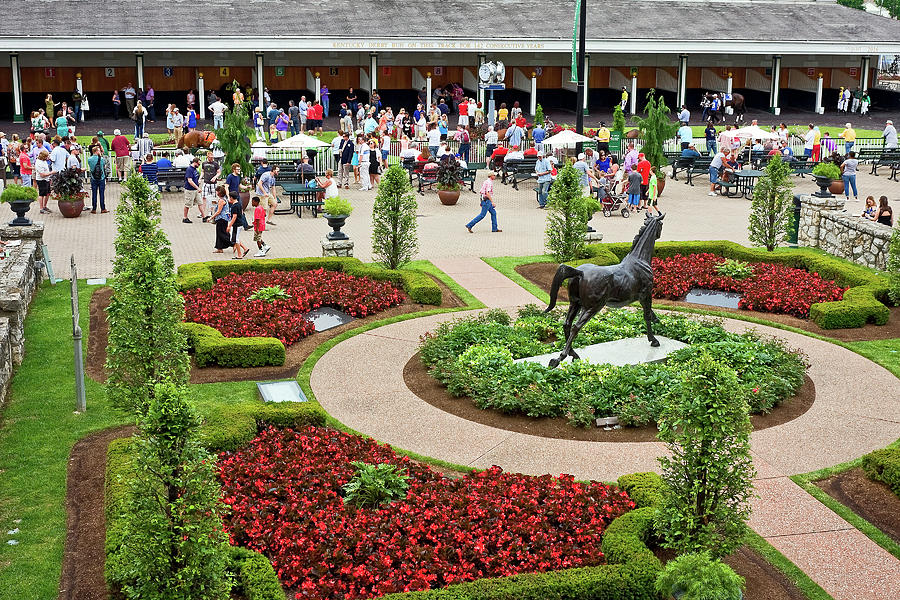 Flower Beds Photograph - Churchill Downs Paddock by Sally Weigand