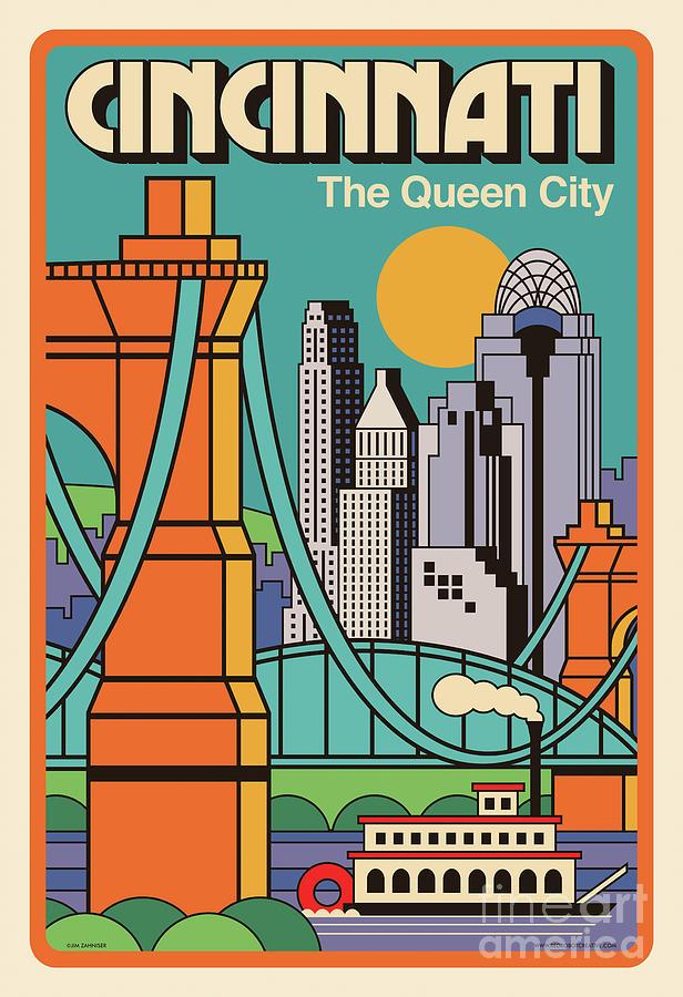 Cincinnati Digital Art - Cincinnati Poster - Vintage Pop Art Style by Jim Zahniser