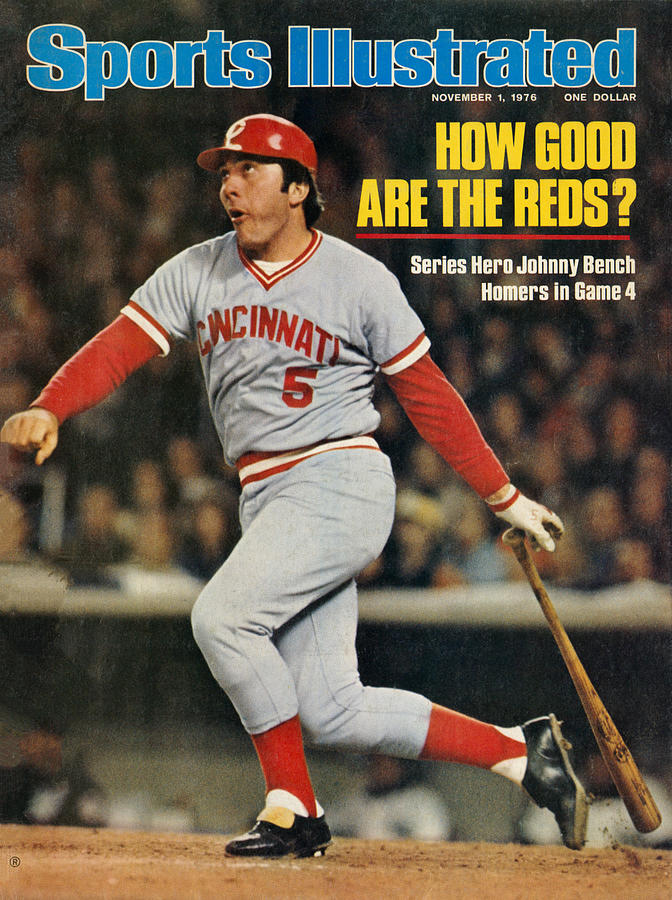 Cincinnati Reds Johnny Bench, 1976 World Series Sports Illustrated Cover Photograph by Sports Illustrated