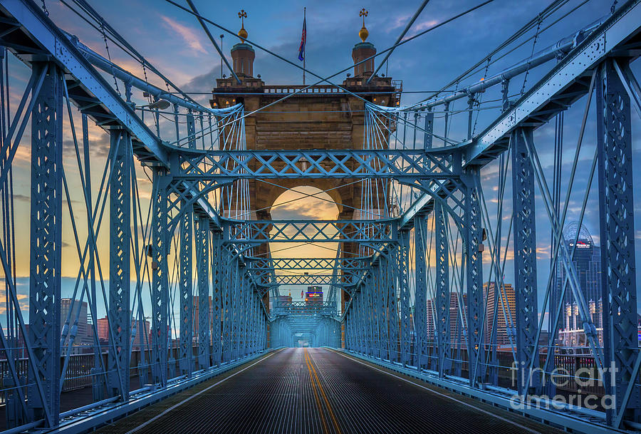 America Photograph - Cincinnati Suspension Bridge by Inge Johnsson