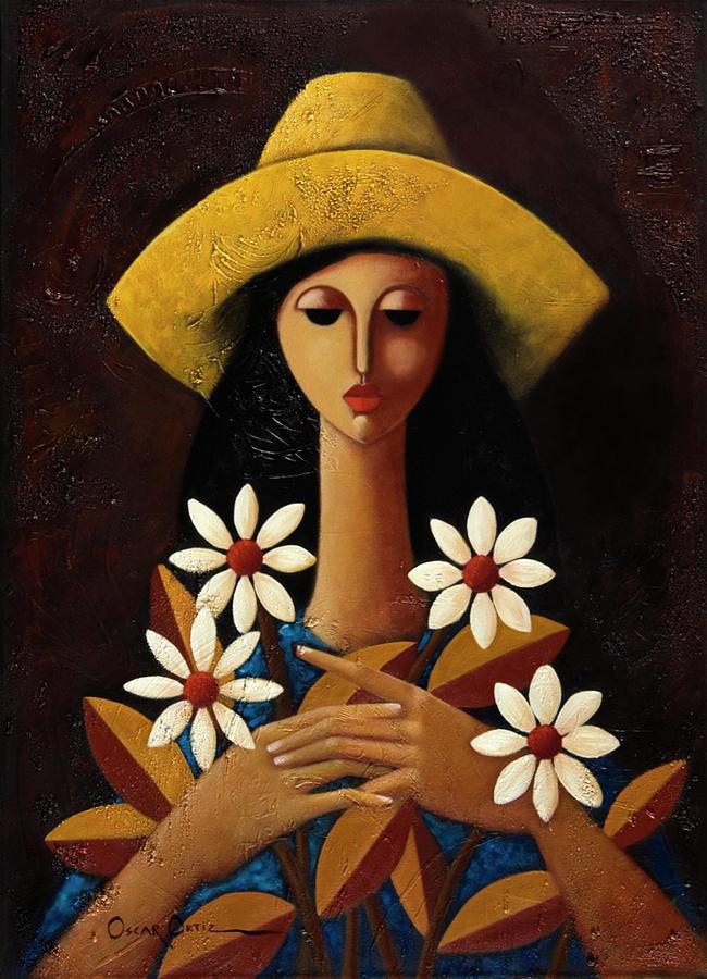 Puerto Rico Painting - Cinco Margaritas by Oscar Ortiz