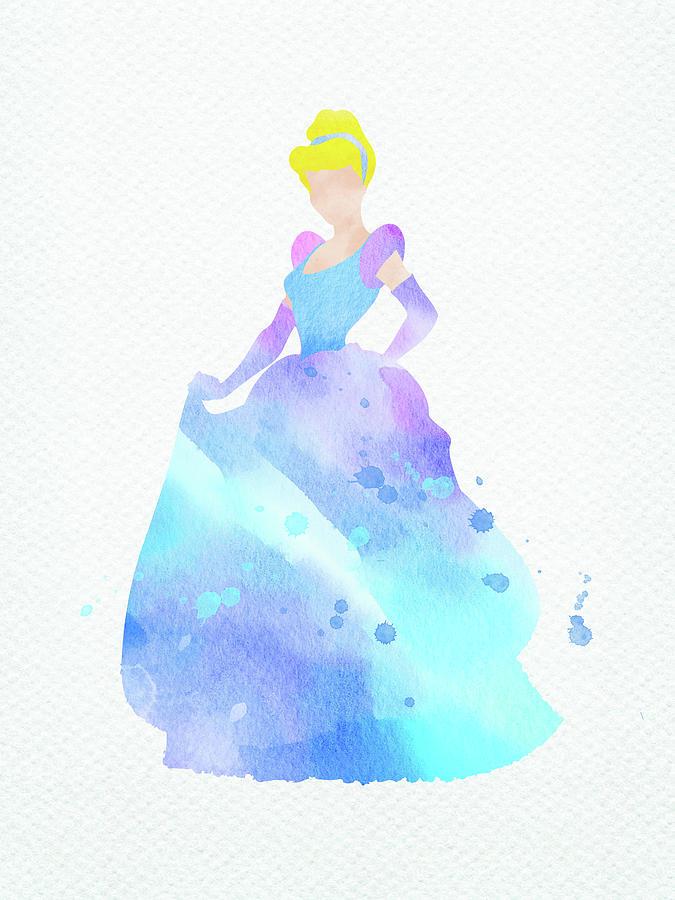 Cinderella Disney Princess Watercolor Digital Art By Mihaela Pater