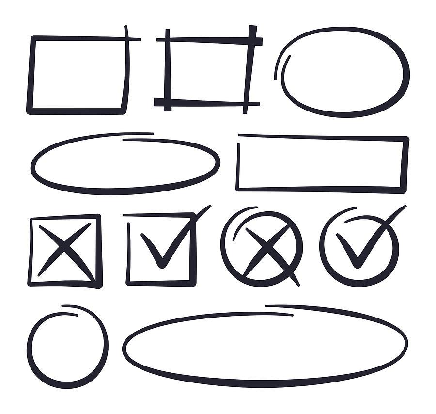 Circle Checkmark Editing Drawn Lines Drawing by Filo