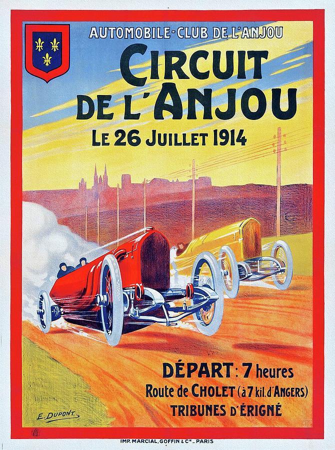 Race Painting - Circuit de lAnjou 1914 Racing Poster by Dupont
