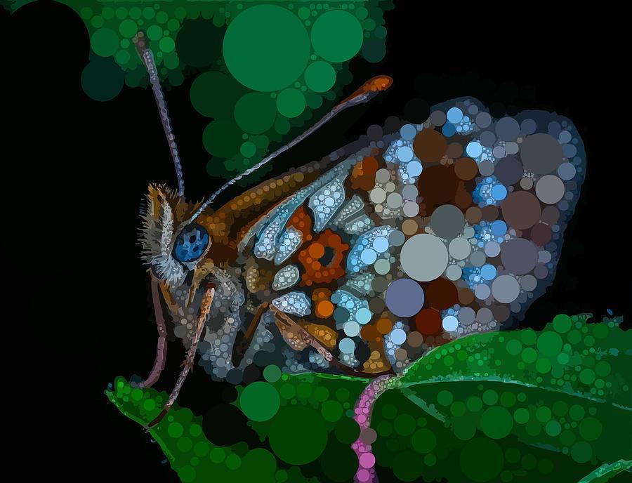 Blue Digital Art - Circular Butterfly by Dahl Winters