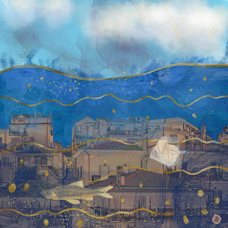 Global Warming Digital Art - Cities Under Water - Surreal Climate Change by Andreea Dumez