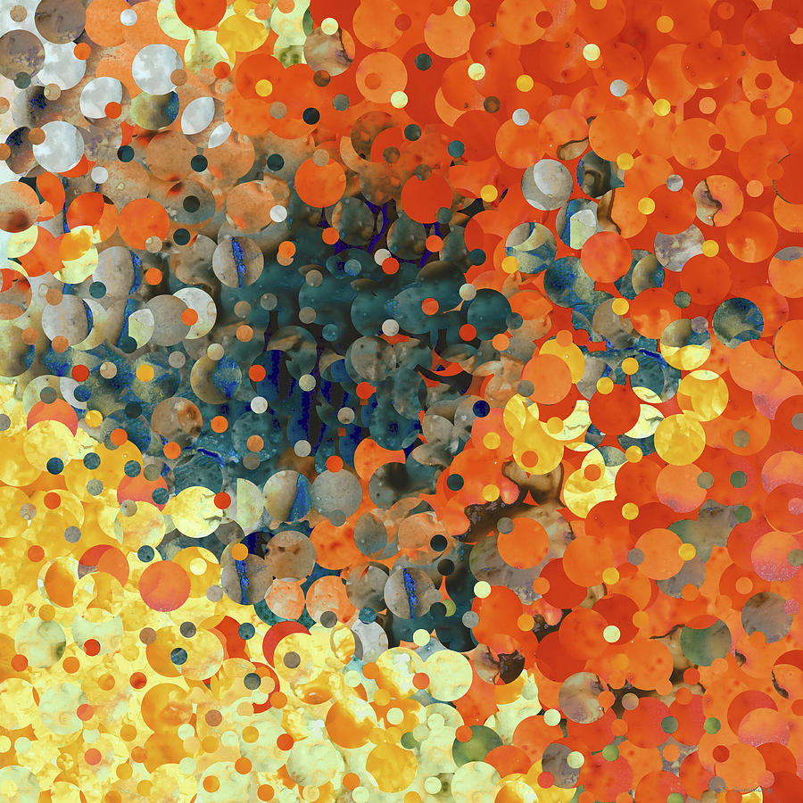 Abstract Painting - Citron Orange Yellow And Black Modern Abstract Art by Sharon Cummings
