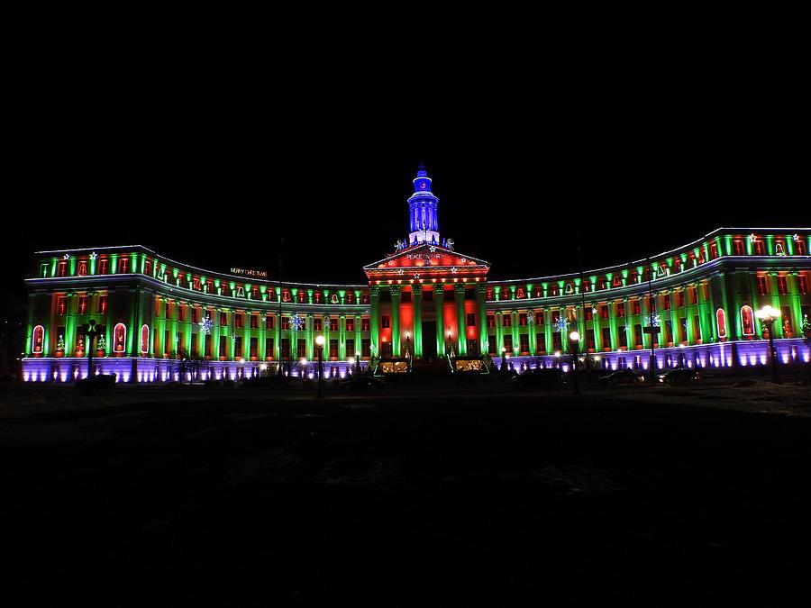 City County Bldg Denver Christmas Lights Photograph By