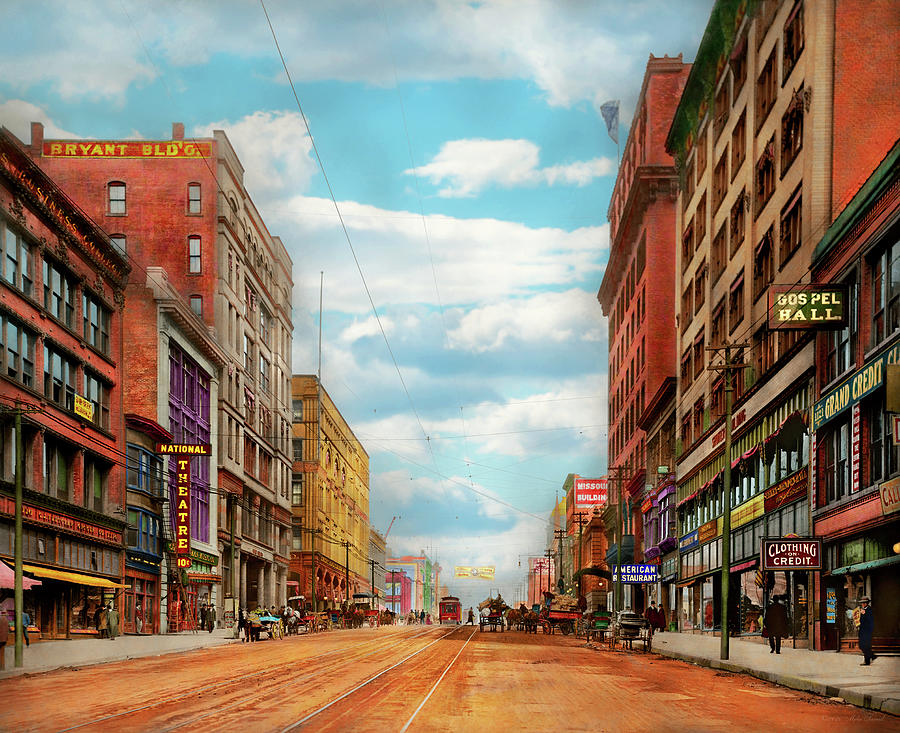 City - Kansas City MO - The Grand Boulevard 1906 by Mike Savad