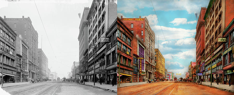 City - Kansas City MO - The Grand Boulevard 1906 - Side by Side by Mike Savad