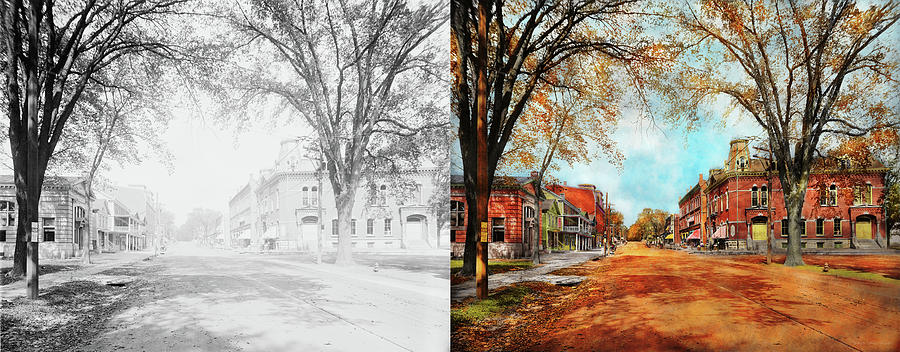 City - Lee MA - The Village Street 1911 - Side by Side by Mike Savad