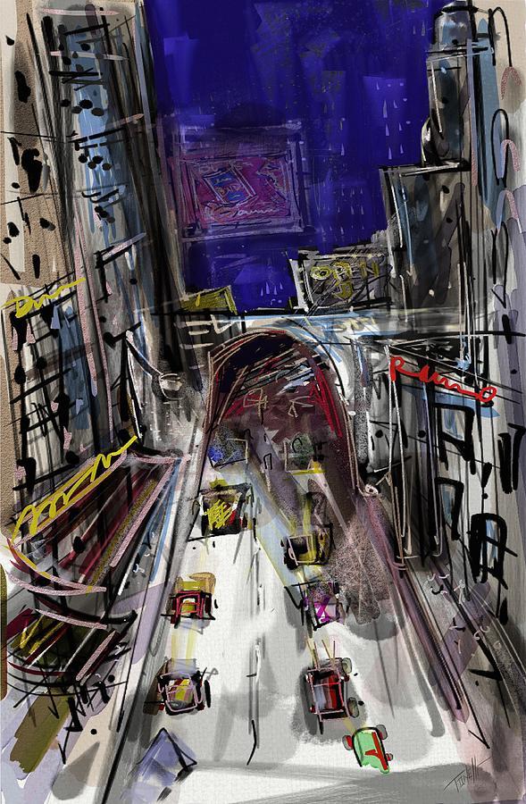 City Life Commuters Mixed Media