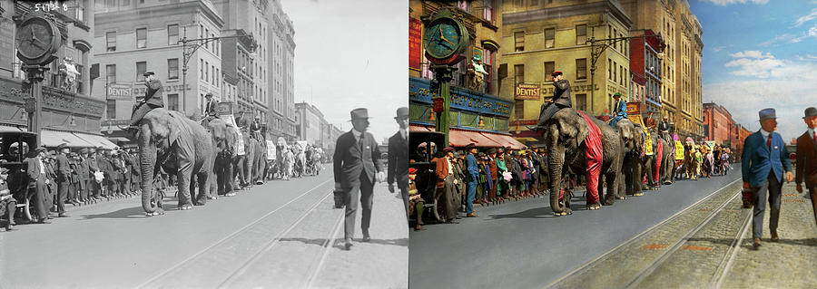 City - NY - The circus is coming to town 1920 - Side by Side by Mike Savad