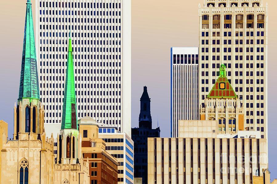 City of Copper Spires Tulsa Oklahoma by Susan Vineyard