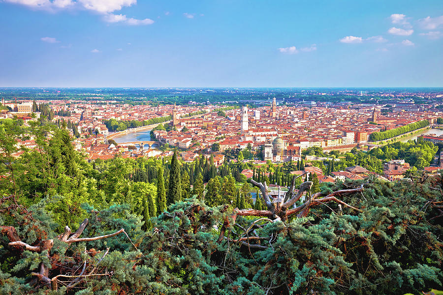 City Of Verona Old Center And Adige River Panoramic View From Hi Photograph