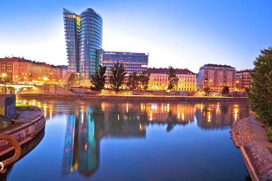 City of Vienna old Danube river waterfront evening view by Brch Photography