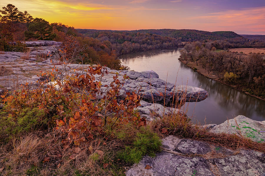 City Rock Bluff Over The White River at Sunset by Gregory Ballos
