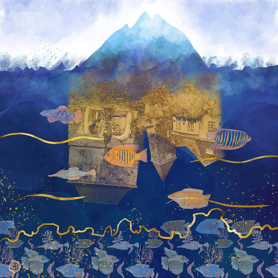 Climate Change Digital Art - City Under Water #2 - Climate Change Surrealism by Andreea Dumez