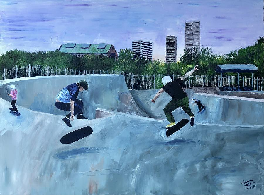 Skateboards Painting - City Wave by Lauren Luna