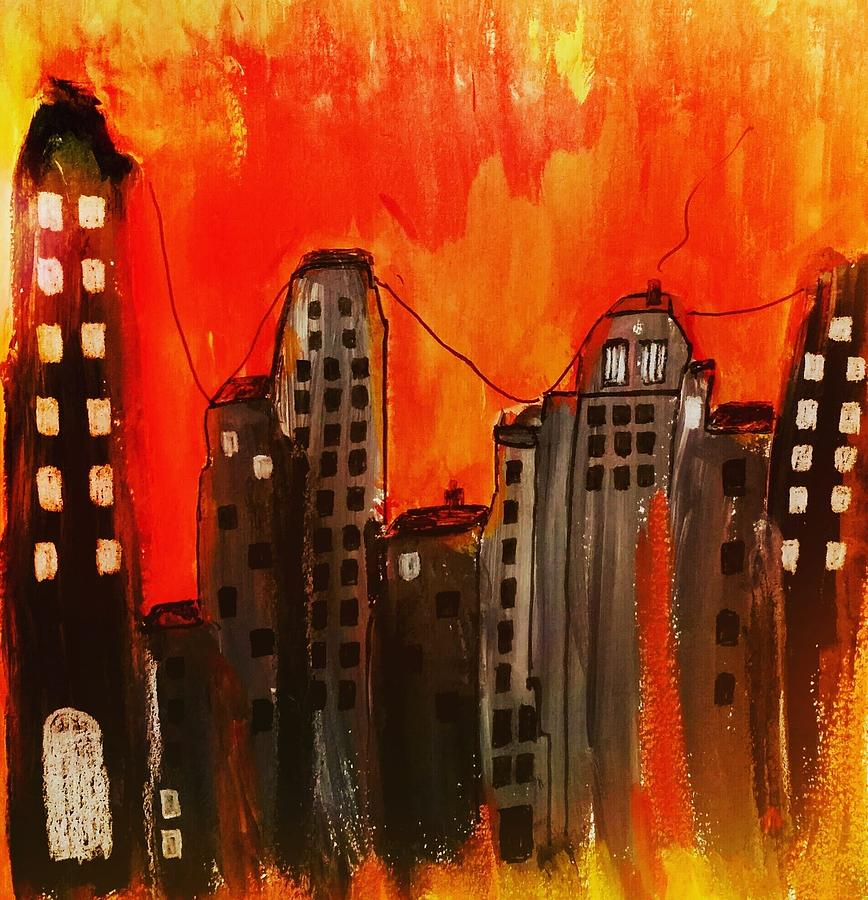 Cityscape In Red Painting