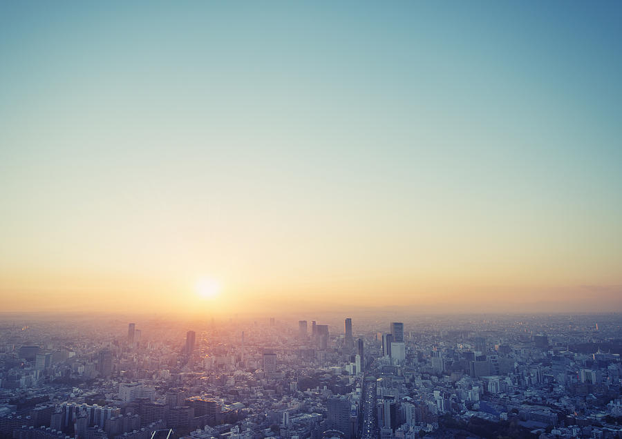 Cityscape in Tokyo at sunset elevated view Photograph by Yagi Studio