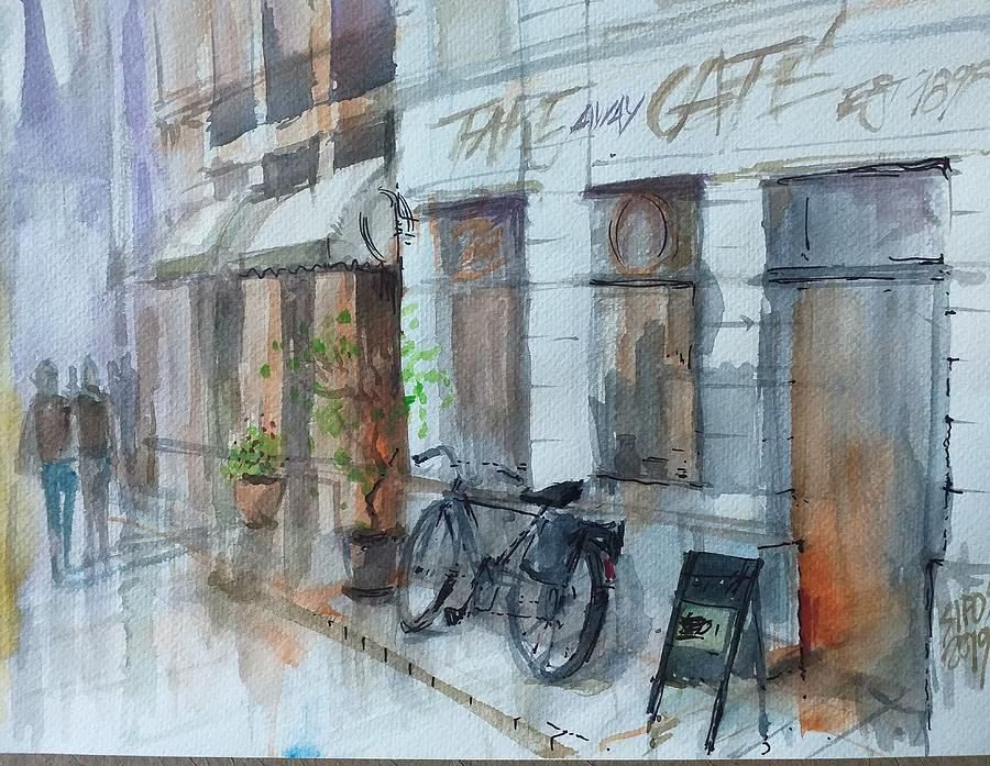 Cityscape With Bike Painting
