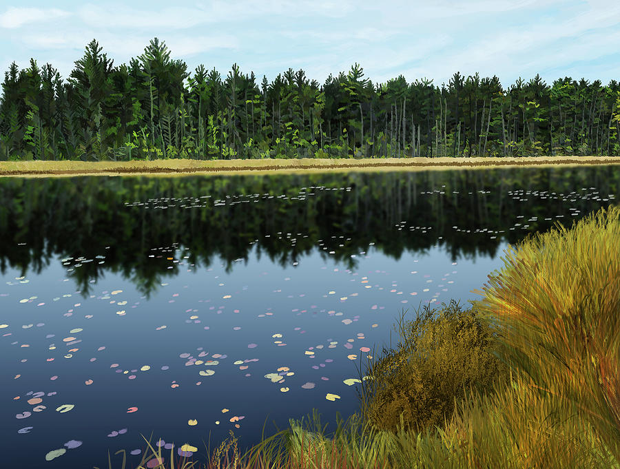 Landscape Digital Art - Clarks Lake by Michelle Caldwell