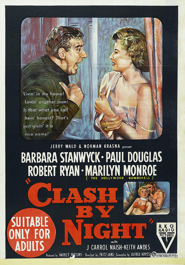 clash By Night Movie Poster With Barbara Stanwyck, 1952 Mixed Media