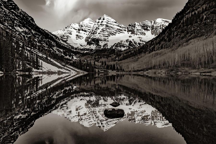 Classic Aspen Maroon Bells Mountain Landscape In Sepia Photograph