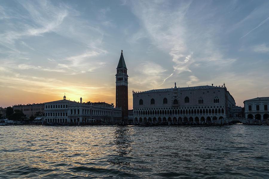 Sail Photograph - Classic Venetian - Feathery Sunset Sail By The Best Landmarks by Georgia Mizuleva