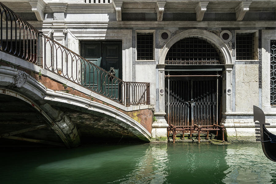 Classic Venetian - Palazzo Canalside Entrance And A Private Bridge Photograph