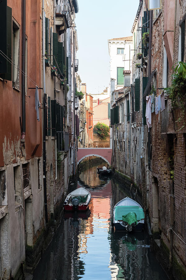 Classic Venetian - Pink Bridge Small Canal and Moored Motorboats  by Georgia Mizuleva