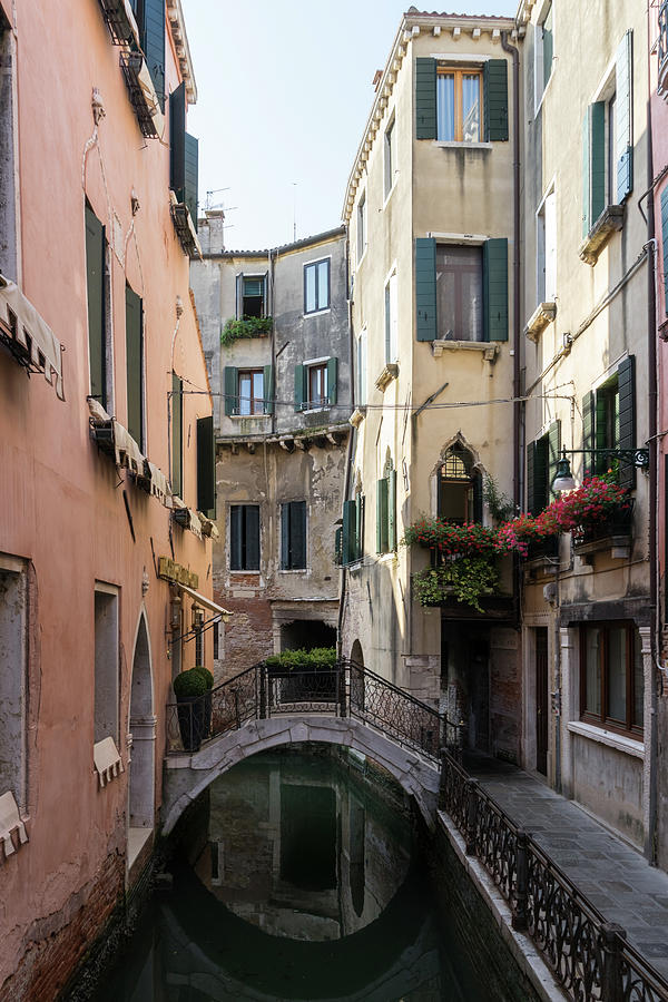 Classic Venetian - Reflecting On Rio De San Zanivoro Canal And A Dainty Bridge Photograph