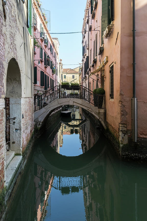 Classic Venetian - Reflecting on Rio de San Zanivoro Canal and a Graceful Arched Bridge by Georgia Mizuleva
