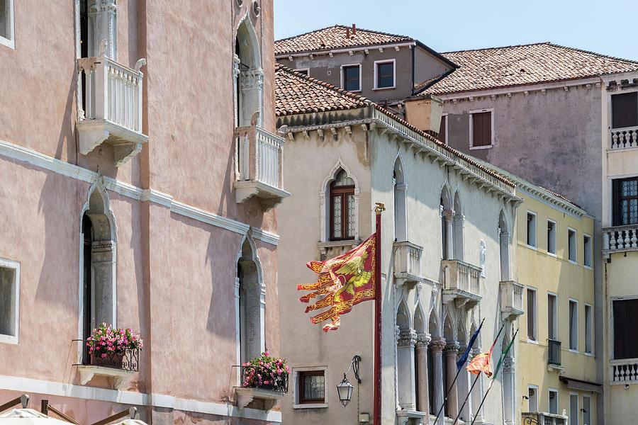 Classic Venetian - Republic of Venice Flag of Saint Mark and Grand Canal Palace Facades by Georgia Mizuleva