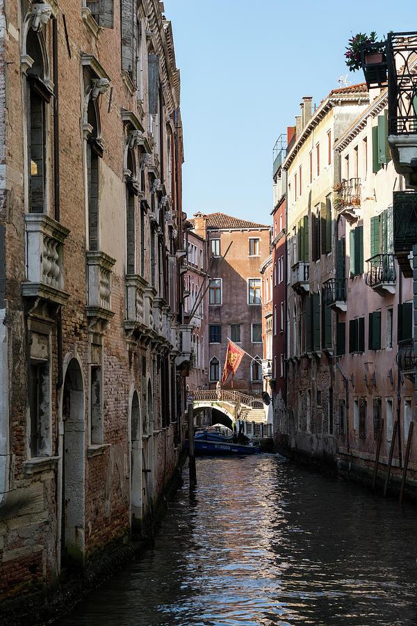 Classic Venetian - Republic of Venice Flag of Saint Mark over a Small Canal  by Georgia Mizuleva