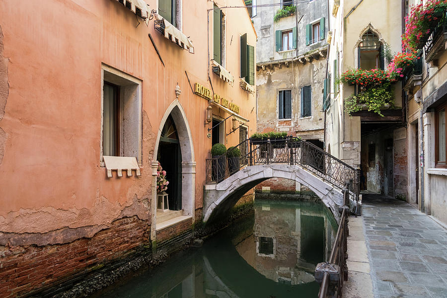 Classic Venetian - Rio de San Zanivoro Canal Turn and Dainty Bridge by Georgia Mizuleva