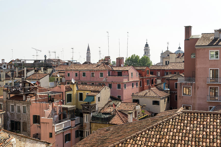 Classic Venetian - Terracotta Rooftops Pink Facades and Altanelle by Georgia Mizuleva