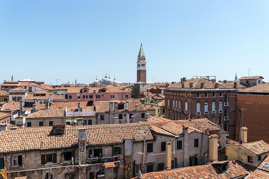 Classic Venetian - Terracotta Rooftops Vista Centered on Saint Mark Basilica Campanile by Georgia Mizuleva