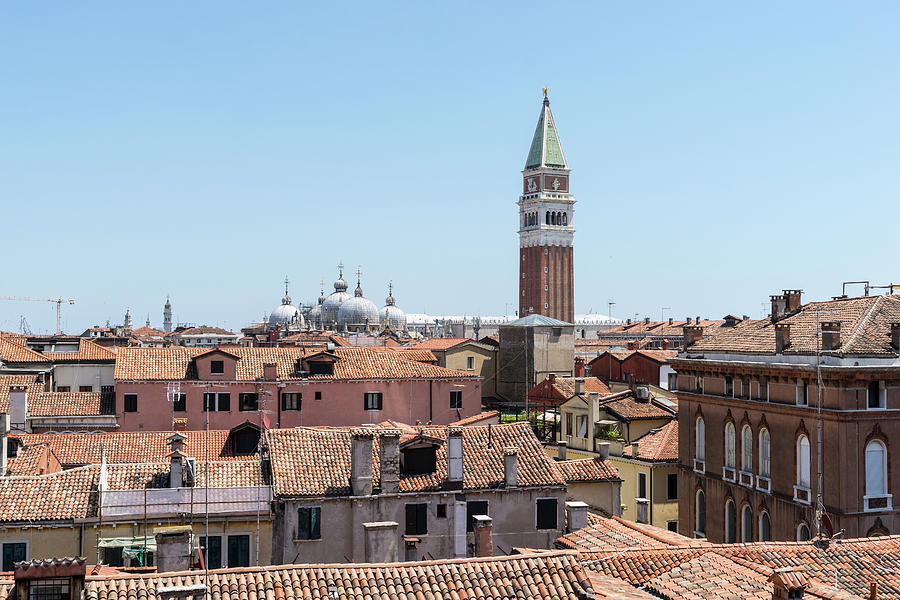 Classic Venetian - Terracotta Rooftops with Saint Mark Basilica Domes and Bell Tower by Georgia Mizuleva