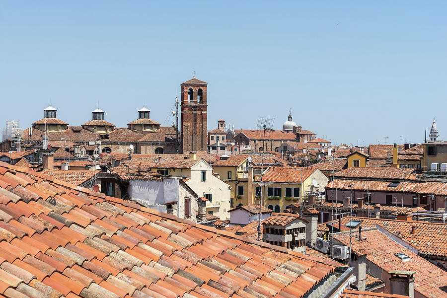 Classic Venetian - Terracotta Rooftops with San Salvador Church and the Three Distinctive Cupola Lan by Georgia Mizuleva