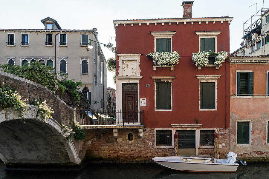 Classic Venetian - Traditional Houses Canal Bridge and a Motorboat by Georgia Mizuleva