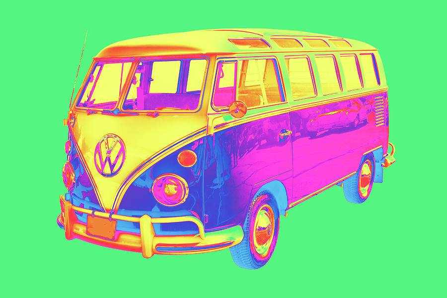 Classic Vw 21 Window Mini Bus Pop Art Image Photograph