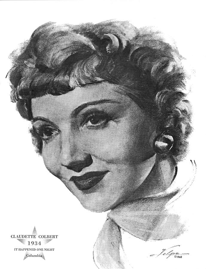 Claudette Colbert By Volpe Drawing