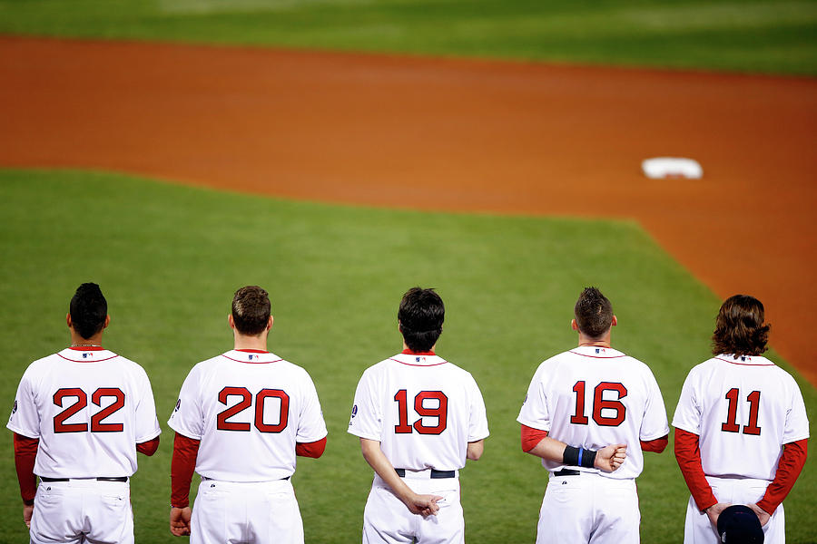 Clay Buchholz, Will Middlebrooks, and Koji Uehara Photograph by Jared Wickerham