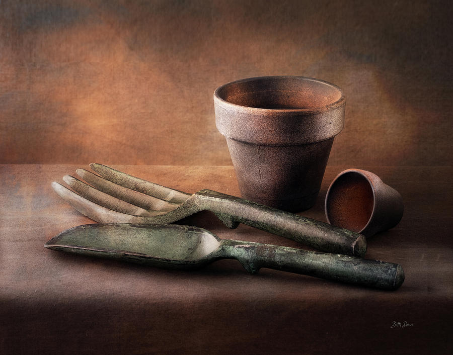 Clay Pots and Garden Tools by Betty Denise