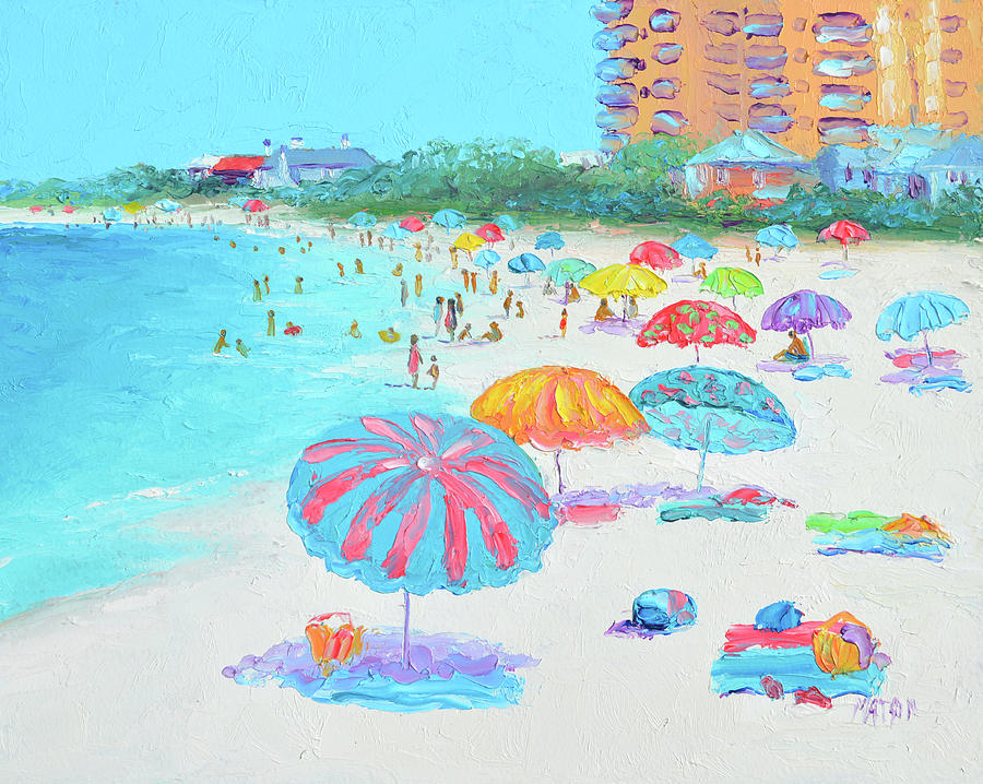 Clearwater Beach Florida, Umbrellas Painting