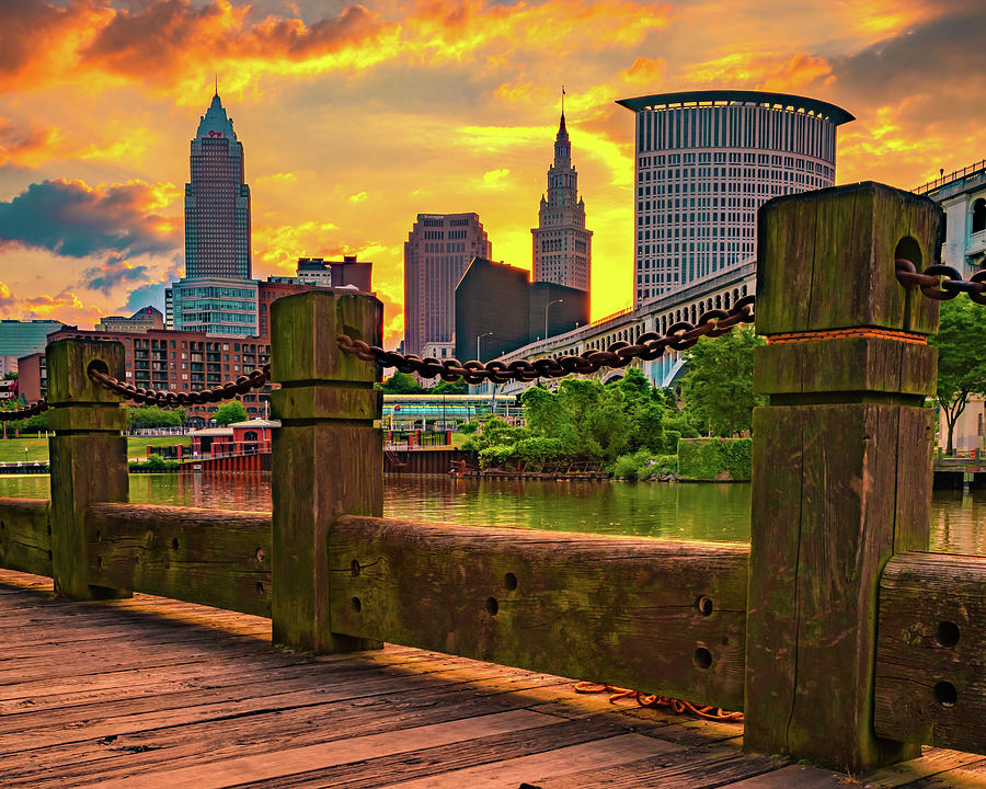 Cleveland Ohio Skyline Sunrise From The Riverfront Photograph