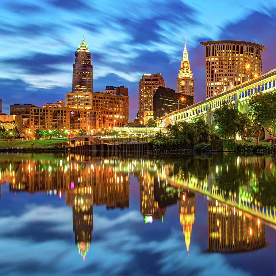 Cleveland Skyline From Heritage Park Along The Cuyahoga River Photograph