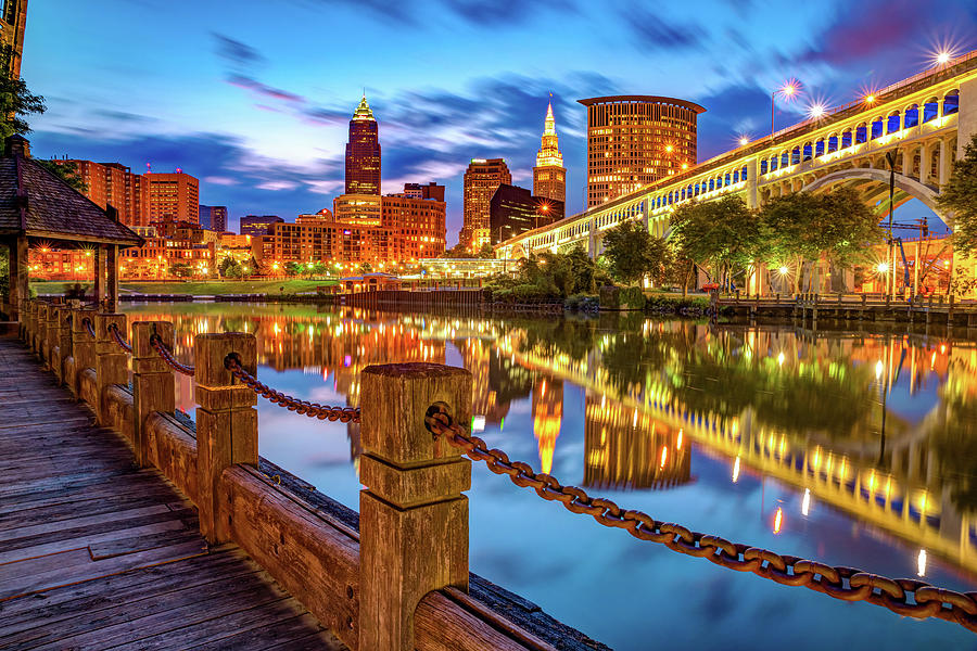 Cleveland Skyline From The Riverfront - Color Edition Photograph